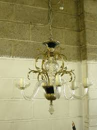glass and brass chandelier before restoration glass and brass chandelier after restoration
