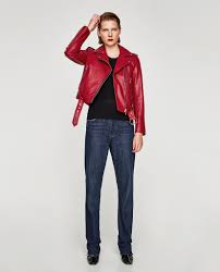 zara red leather effect jacket