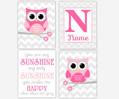 >baby girl nursery wall art pink gray owl you are my sunshine  baby girl nursery wall art pink gray owl you are my sunshine personalize name art girl