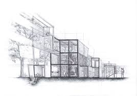 Beautiful Architecture House Design Drawing Sketch With Bahrain