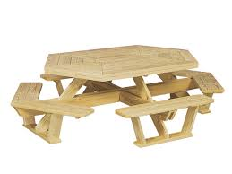 outdoor wood furniture hexagon table with benches