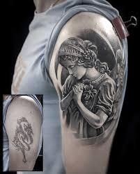 татуировка мужская Blackgrey на плече ангел Coverup Art Of Pain