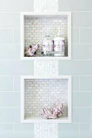 built in shower niche blue shower tiles with white iridescent mini brick tiled shower niche building