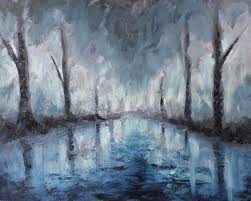 night abstract landscape oil painting reflection of trees in water stock ilration ilration