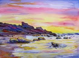 original painting sunset beach by saga sabin