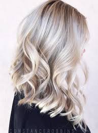 Platinum streaked hair