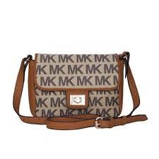 Michael Kors Turn Lock Logo Medium Apricot Crossbody Bags