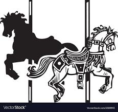 wooden carousel horse shadow vector image