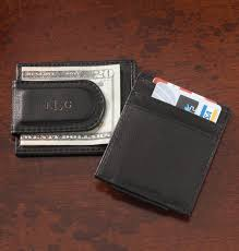 personalized black leather money clip card holder clip wallet exposures