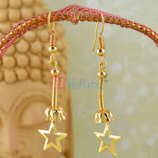 Latest Design Of Gold Earrings Sui Dhaga Buy Or Send Golden Touch Fancy Star Sui Dhaga Earrings Online