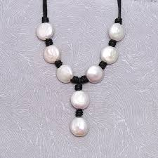 large coin pearl pendant necklace freshwater pearl necklace leather pearl necklace pearl necklace ets s312