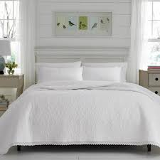 laura ashley heirloom crochet 3 piece white king quilt set