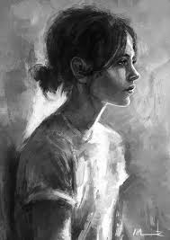 elina monochromatic digital painting a woman is painted in black and white colors looking far away with disheveled hair and humble clothing