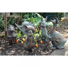 peter rabbit garden sculptures black