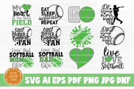 Softball Bundle Svg Cut Files Graphic By Vectorcreationstudio Creative Fabrica