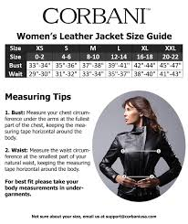 corbani womens size guide