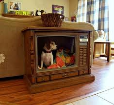 view in gallery old television set turned into a stylishly retro dog bed