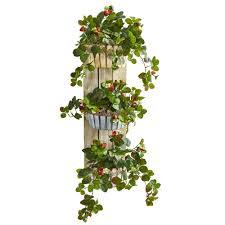 indoor strawberry artificial plant in 3 tiered wall decor planter
