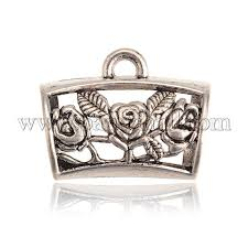 diy scarf pendant tibetan style alloy hanger links large bail beads curved hollow with flower pattern antique silver 25x32x19mm hole 4mm and 16mm