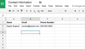 Name Email Phone Number Sheet Common Problems With Google Sheets On Zapier Integration Help