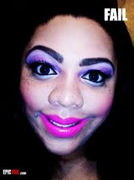 the rule is as follows too much of everything makes it bad here it s just an abundance of pink lips big eyes big eyebrows