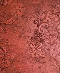 Charming Red Floral Pattern Textured Wall Finished As Inspiring Handmade  Wall Treatment For Interior Decors Ideas