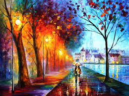 city by the lake palette knife oil painting on canvas by leonid afremov size