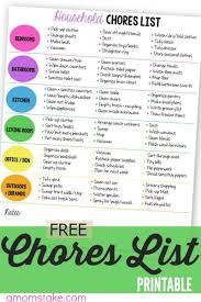 Weekly Household Chores Printable Household Chores List A Moms Take