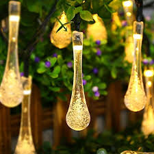 acehome solar outdoor string lights 20ft 30 led warm white water drop solar string fairy waterproof lights lights solar powered string lights for