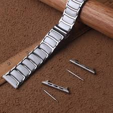 new arrival ceramic white watchbands wrap stainless steel watch strap bracelet folding buckle polished 20mm 22mm fast delivery leather watch band