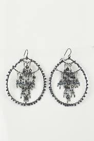 large black and grey hoop and chandelier beaded earrings