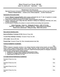 Resume For Radiologic Technologist