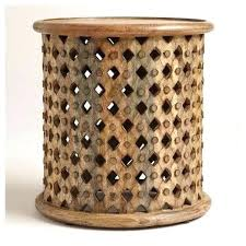 teton natural solid wood accent table faux wood round accent table tribal carved glitter guide unfinished