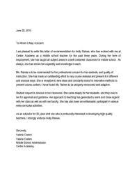Letter Of Recommendation Teacher Letter Of Recommendation For Middle School Teacher