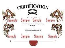 Martial Arts Certificate Templates Martial Arts Certificates Ebay