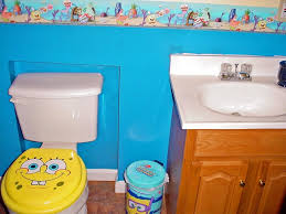 Bathroom:Fancy Blue Wall Paint Kids Bathroom Decor With White Carving Frame  Wall Art Also