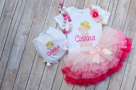 Customized Baby Girl 1st Birthday Outfit Pink Gold Princess Etsy