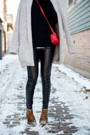 how to style leather leggings for winter the best faux leather leggings cozy edgy outfit matisse nugent leopard booties updated 11