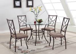 king s brand 5 pc set brand round glass metal dining room kitchen table and 4 chairs