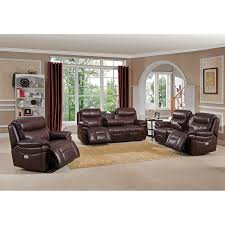Leather Reclining Living Room Sets Amax Sanford 3 Piece Leather Power Reclining Living Room Set With