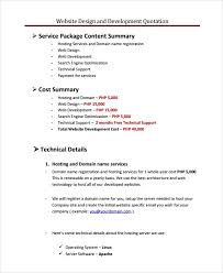 Services Quotation Template Sample Web Design Quote Template 6 Free Documents