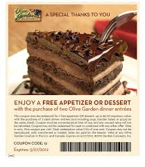 free app or dessert at olive garden w purchase of 2 entrees for olive garden