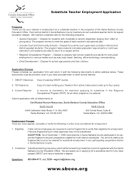 Best Resume For Substitute Teaching With Employment Application