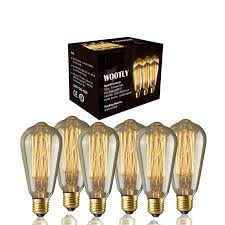industrial style outdoor lighting. Edison Bulbs Of 6 Pack - Wootly Long Life Style Marconi Squirrel Cage Filament Bulb Industrial Outdoor Lighting