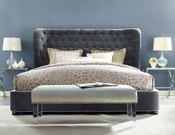 tufted bedroom furniture. TOV Furniture Finley Grey Velvet Bed Tufted Bedroom