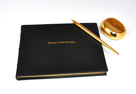center personalized leather guest book gold on black