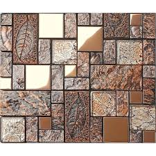 stainless steel blend ceramic mosaic glass tile wooden color natural tune