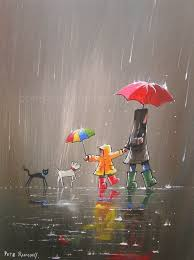 Image result for rainy animated friends umbrellas