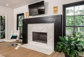 herringbone fireplace tile pattern