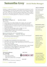 Social Media Resume Example Social Media Manager Resume Example 1 Examples Template Home